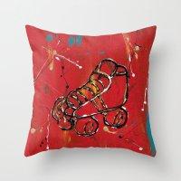 skate Throw Pillows featuring Skate by Robin Lee Artist