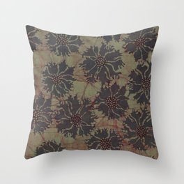 Batik Poppies Throw Pillow