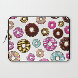 Donut Pattern, Colorful Donuts - Pink Blue Yellow Laptop Sleeve