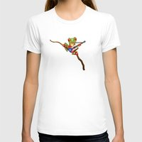 puerto rico T-shirts featuring Tree Frog Playing Acoustic Guitar with Flag of Puerto Rico by Jeff Bartels
