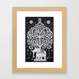 Twin White Indian Hippie Mandala Elephant Tree Of Life Tapestry Hanging Picnic Framed Art Print
