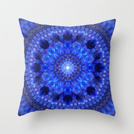 Azure Shield Mandala Throw Pillow