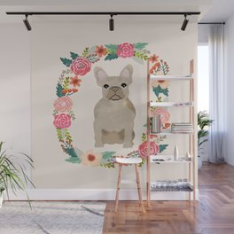 french bulldog fawn floral wreath flowers dog breed gifts corgis Wall Mural