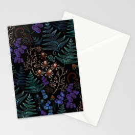 Moody Florals with Fern Leaves Black Stationery Cards