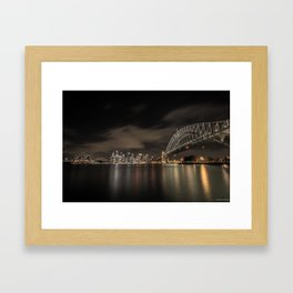 Sydney Harbor Bridge by night Framed Art Print