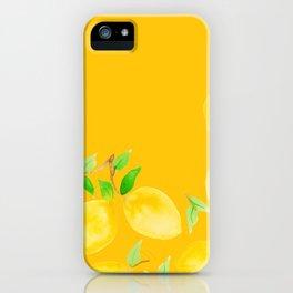 Lemons on Mustard Yellow iPhone Case