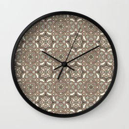 Ornamental Scroll Pattern Earthen Trail, Melon Green, Dover White & Ever Classic Gray Wall Clock