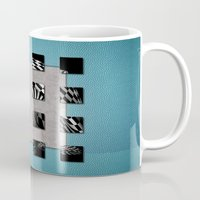 sports Mugs featuring SQUARE AMBIENCE - Blue Sports by INA FineArt