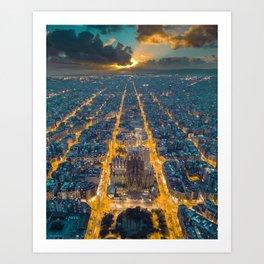 Sunset in Barcelona Art Print