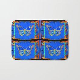 Sky Blue Butterflies Old Gold & Black Design Bath Mat
