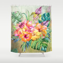 Tropical Hibiscus Garden Shower Curtain