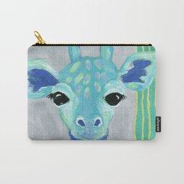 Giraffe Painting, Baby Giraffe, Blue Giraffe, Child's Room Decor, Gray Green Blue Art Carry-All Pouch