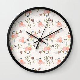 Hand Drawn Chrysanthemum Floral Pattern Wall Clock