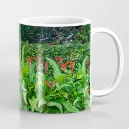 Greenery With Red Flowers Coffee Mug