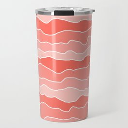 Four Shades of Living Coral with White Squiggly Lines Travel Mug