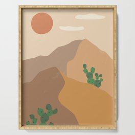Desert Landscape, Cacti and Sun Serving Tray