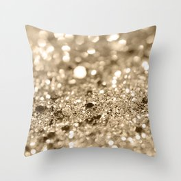 Champagne Gold Lady Glitter #1 #shiny #decor #art #society6 Throw Pillow