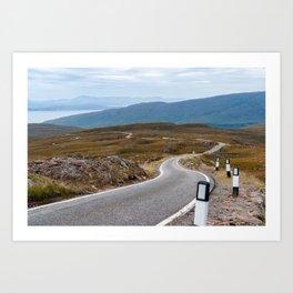 Scotland: Narrow single-track road Art Print