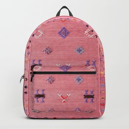 N61 - Lovely Pink Traditional Boho Farmhouse Moroccan Style Artwork Backpack