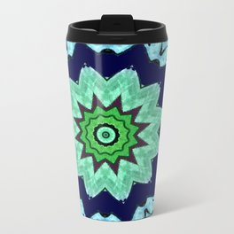 Lovely Healing Mandalas in Brilliant Colors: Light Blue, Dark Blue, Mint, Purple, and Green Metal Travel Mug