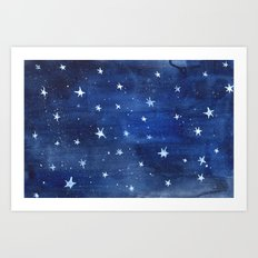 Midnight Stars Night Watercolor Painting by Robayre Art Print