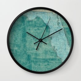 Florida State Map Blue Vintage Wall Clock