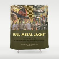stanley kubrick Shower Curtains featuring Full Metal Jacket - Stanley Kubrick by Smart Store