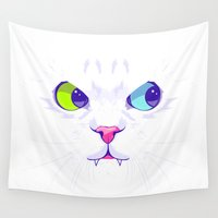 evil Wall Tapestries featuring Evil Cat by Oh wow!
