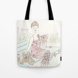 Paris with Yorkie Puppy Dog and Glam Fashion Tote Bag