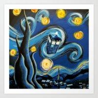 targaryen Art Prints featuring Tardis Starry Night by DavinciArt