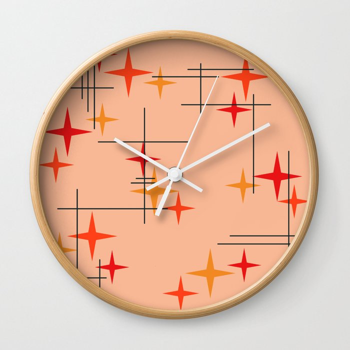Mid Century Modern Stars Burnt Orange Wall Clock By Zennykenny