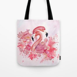 Tropical birds- Flamingo in LOVE with exotic flowers on #Society6 Tote Bag