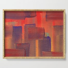 Abstract City Sunset Serving Tray