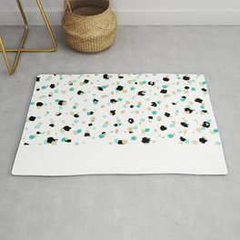 Teal, Faux Gold, & Black Speckled Paint Daubs Rug