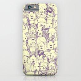 just alpacas purple cream iPhone Case