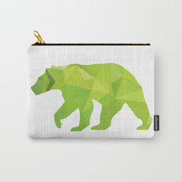 Bear - Green geomatric Carry-All Pouch