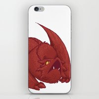 smaug iPhone & iPod Skins featuring Baby Smaug - Textless by Kinsei
