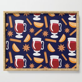 Mulled wine, spiced wine pattern. Serving Tray