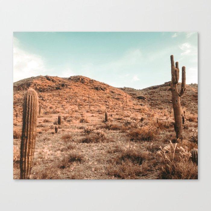 Saguaro Mountain // Vintage Desert Landscape Cactus Photography Teal Blue Sky Southwestern Style Canvas Print