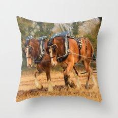 Work Horses Throw Pillow