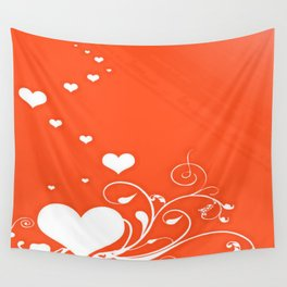 White Valentine Hearts On Red Background Wall Tapestry