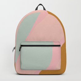 Abstract Painting in Muted Colors of Sage, Blush, and Gold Backpack