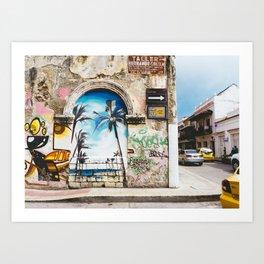 Cartagena, Colombia Street Art - Palm Trees Art Print