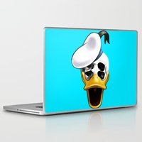 donald duck Laptop & iPad Skins featuring Mr. Donald Skull by JohnnyC