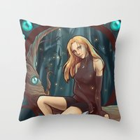 leah flores Throw Pillows featuring Leah by Tiphs