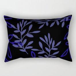 Leafy Blue Rectangular Pillow