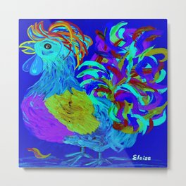 Rooster Blues Metal Print