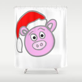 Christmassy Pig Shower Curtain