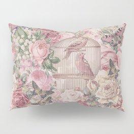 Romantic Flower Pattern And Birdcage Pillow Sham