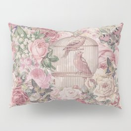 Romantic Flower Pattern And Birdcage Pillow Sham